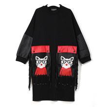 חדש 2019 נשים סתיו חורף שחור Midi שמלה בתוספת גודל גדול Cartoon PU כיס והשולים גבירותיי מסיבת מועדון ללבוש שמלה חמודה 3084(China)