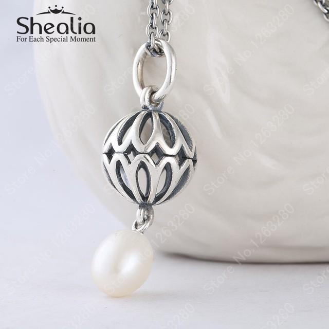 2015 зима новый стерлингового серебра 925 ажурные бутоны падение пресноводного жемчуга регулируемые ожерелья для женщин NP015