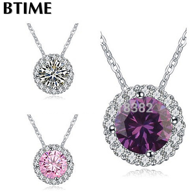 Btime new Whosale Crystals from Swarovski Elements Price Three Color AAA Zircon Round Necklace for Myself(China (Mainland))