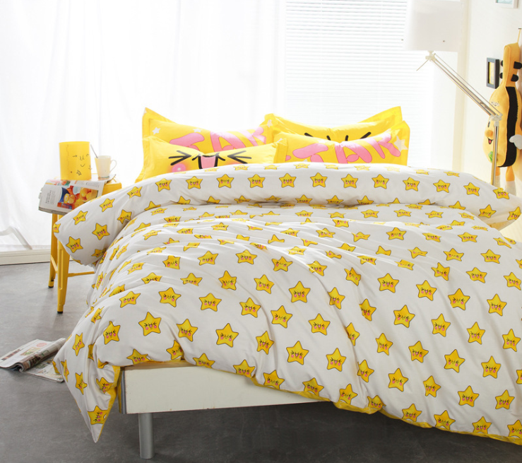 18 Choices Pop Art Yellow Star 4pcs/set Bed Linings Bedsheet Bedding Set Bedclothes Home Textile 100% Cotton Environmental(China (Mainland))