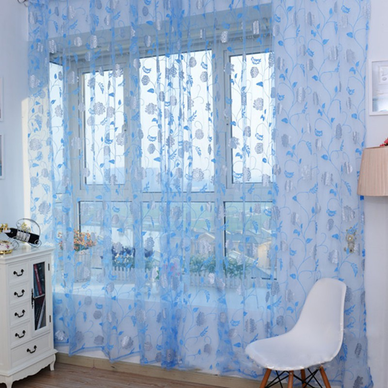 Room Window Voile Curtain Drape Sheer Divider Scarf Rose Flower Pattern 4 Color Window Scarfs(China (Mainland))