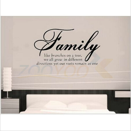 Family Like Branches home decor creative quote wall decals ZooYoo8082 decorative adesivo de parede removable vinyl wall stickers(China (Mainland))