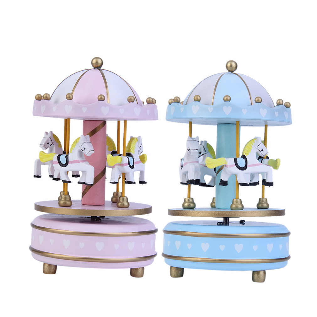 High Quality Wooden Merry-Go-Round Classic Music Box Kids Children Girls Christmas Birthday Musical Rotating Kids Girls Gift Toy(China (Mainland))