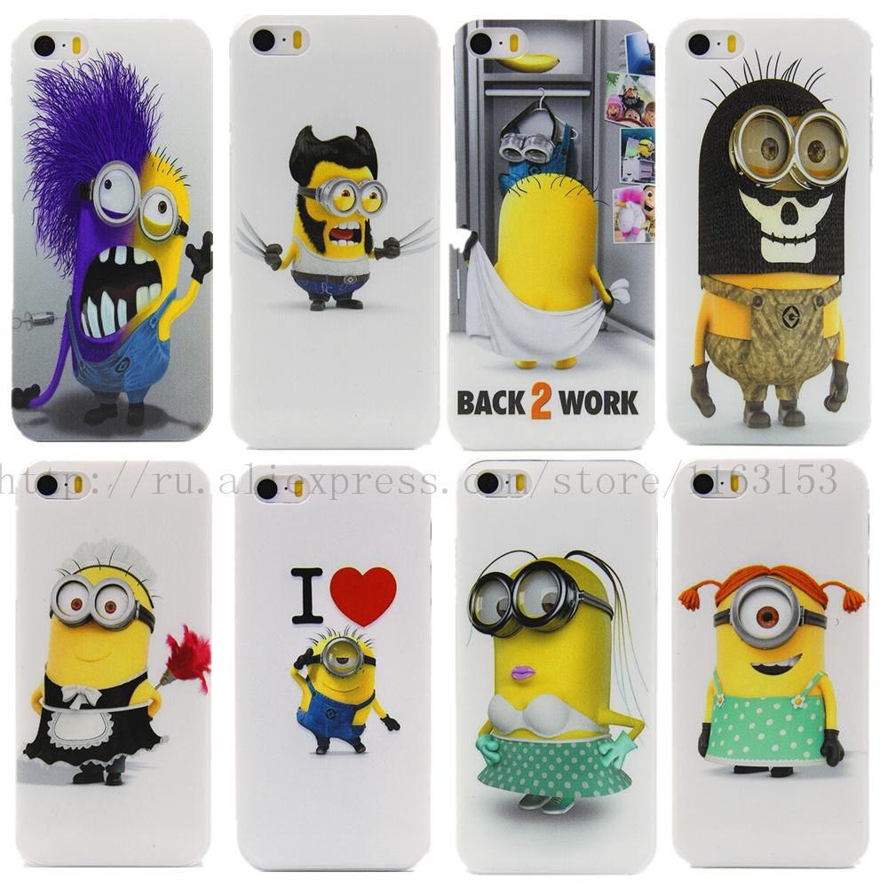 2015 3D small yellow people transparent PC Case for iPhone 4 4S 4G 5 5S 5G cases phone shell protective back cover perfect(China (Mainland))