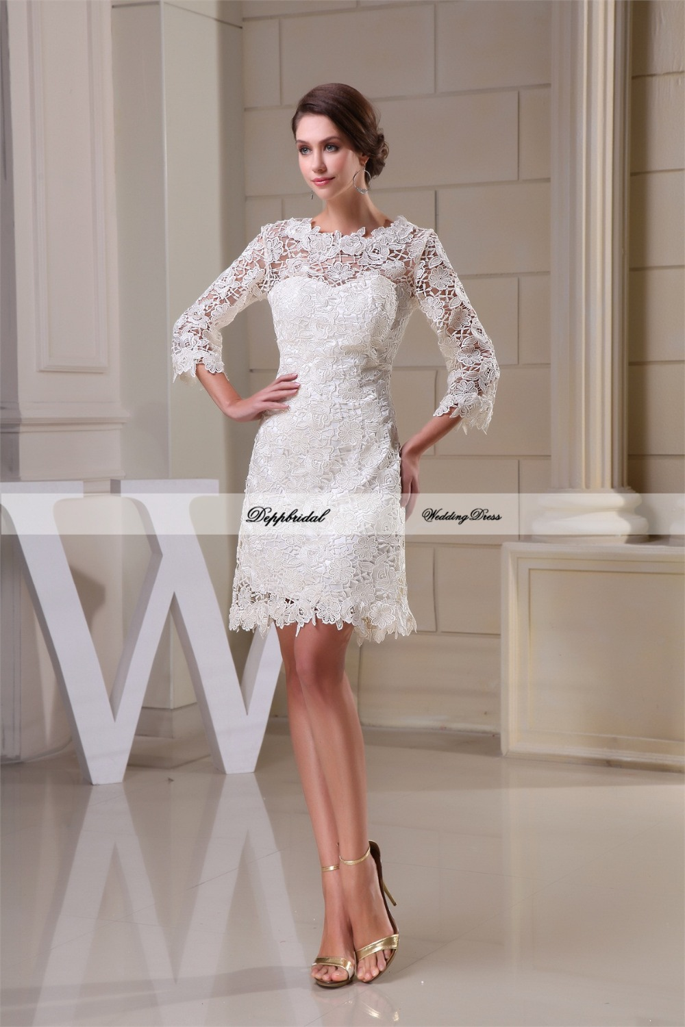 Buy wholesale wedding dress lace sheath 3 for 3 4 sleeve wedding guest dress