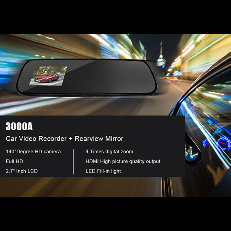 2.7 Inch HD Dash Cam Video Recorder Rearview Mirror Car DVR Camera Night Vision Motion detection Loop Recording Free Shipping(China (Mainland))
