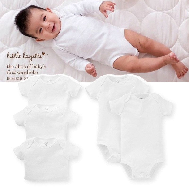 White BODY BABY BODYSUITS 100%Cotton Boy Girl Clothing Ropas De Bebe 5pcs/lot Similar Carters Bebe Clothes Free shipping(China (Mainland))