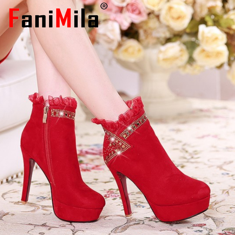 CooLcept Free shipping ankle high heel short boots women snow fashion winter warm boot footwear P15127 EUR size 34-39<br><br>Aliexpress