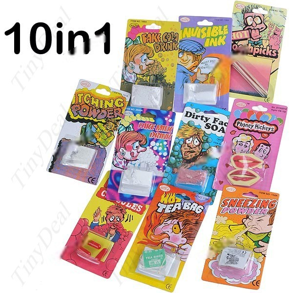 Tumbie Prank Funny Practical Trick Gag 10 Items Halloween & Fools Day Set Kit (Assorted Style) FTY-29368(China (Mainland))