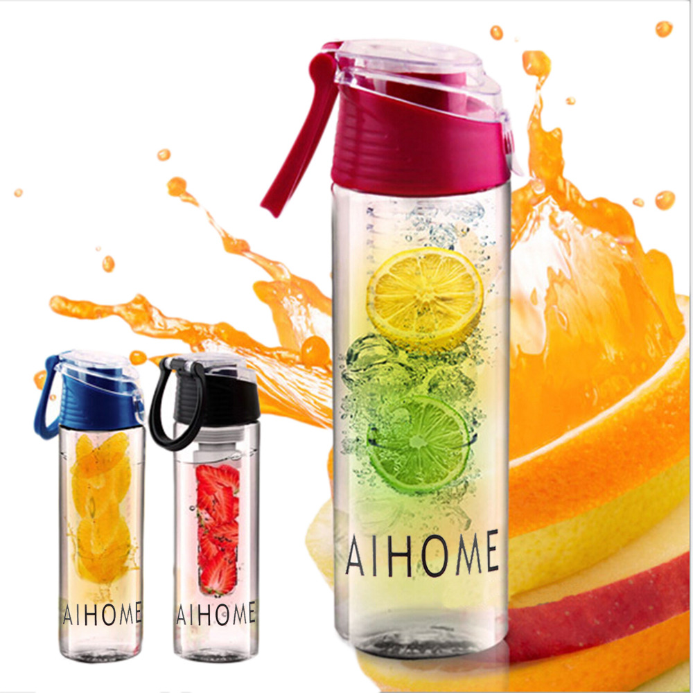AIHOME 800ml Cycling Sport Fruit Infusing Infuser Water Lemon Cup Juice Bicycle Health Eco-Friendly BPA Detox Bottle Flip Lid(China (Mainland))