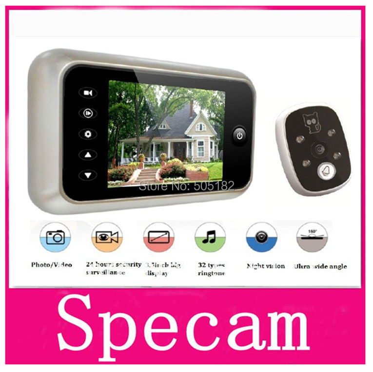 "3.5"" TFT LCD Color Screen door bell viewer digital door peephole viewer camera take photo+video record+wide angle+Nightvision(China (Mainland))"