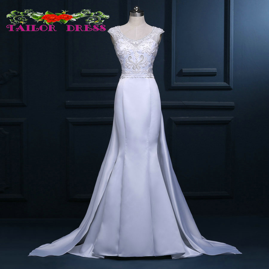 Casamento Classic Sheer Back Bridal Gowns Sexy Lace/ Beads Mermaid Vintage Queen Anne Neckline Crystal Wedding Dress(China (Mainland))
