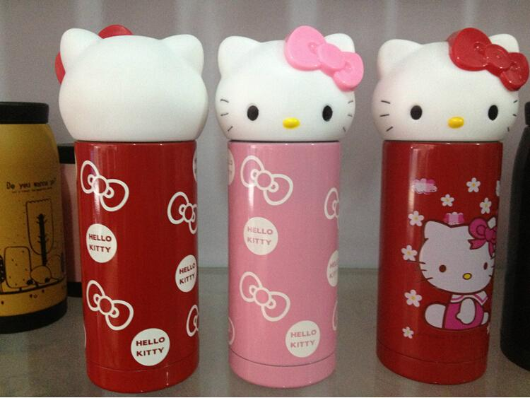 Cute Cartoon 360mL Stainless Steel Hello Kitty Style Vacuum Thermos Cups Travel mugs Water Bottle For Women Chldren(China (Mainland))