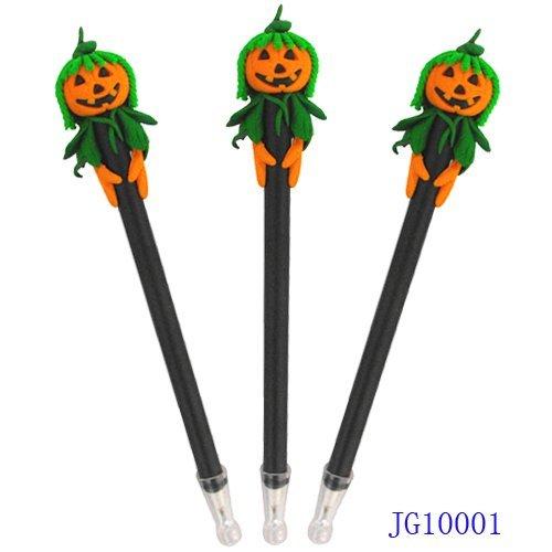 Handicrafted Polymer Clay Halloween Gift Pumpkin Head Ball Pen Ballpoin Pen Promotional Gift 1200pcs