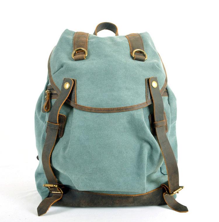 FREE SHIPPING 2015 men s backpack genuine leather canvas bags crazy horse knapsacks for men women