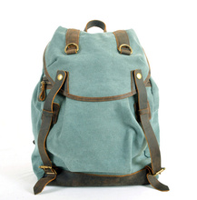 FREE SHIPPING 2015 men s backpack genuine leather canvas bags crazy horse knapsacks for men women