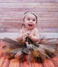 Newborn Princess Lovely Girl Headband Coffee Mix Tutu Skirt Baby Photography Prop Stunning Tutu Sweet Tutu Set tutu skirt(China (Mainland))