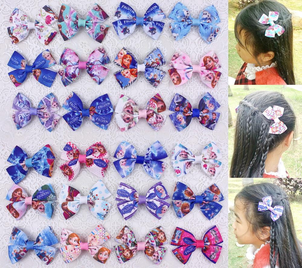 100pcs boutique Xmas hello kitty Elsa Anna princess Ribbon hair Bows clips headband headwear hair bobbles Snow Queen clip HD3286(China (Mainland))