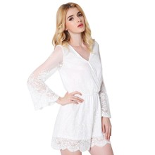 Buy Sexy deep v neck white lace elegant jumpsuit romper Summer style beach short playsuit Women guaze boho overalls D1 for $12.79 in AliExpress store