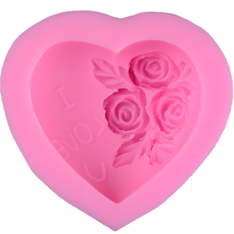 3D Silicone Soap Mold Heart Love Rose Flower Chocolate Mould Candle Polymer Clay Molds Crafts DIY Forms For Cheap Soap Base Tool(China (Mainland))