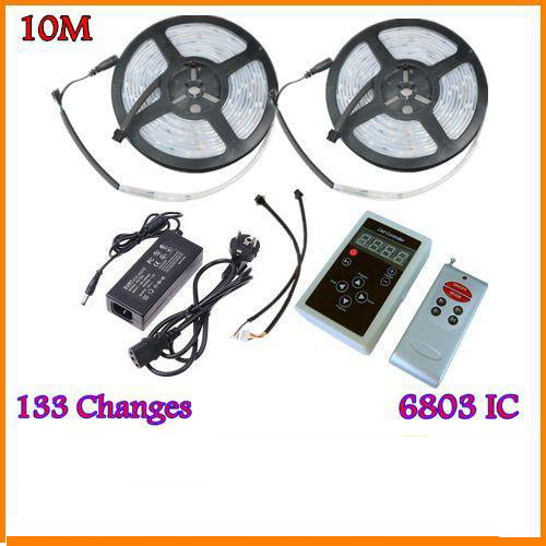 10M 5050 RGB Dream Color Magic 6803 IC LED Strip Light 133 Change RF Remote and 12V6A 72W Power US/EU/UK/AU(China (Mainland))
