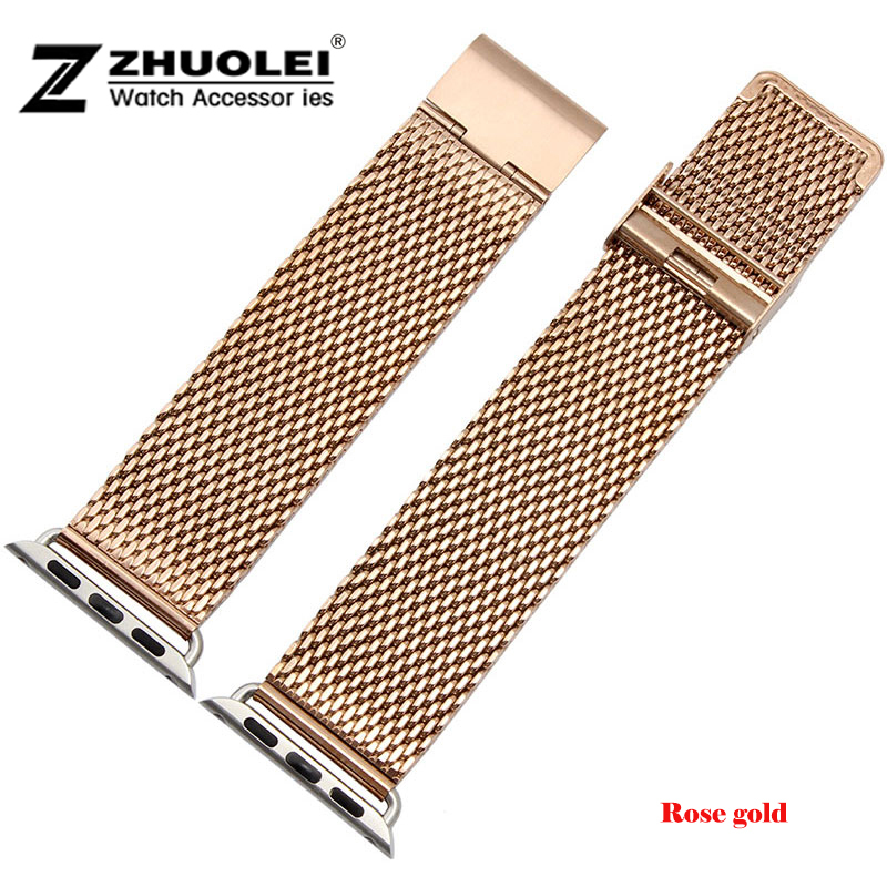 38mm 42mm New Pink gold Mesh Stainless steel Watch Band Strap Adapter For Apple Watch iWatch<br><br>Aliexpress