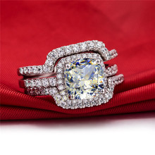 HOT  Luxury New Bridal Set Wedding Rings Sets 3 Carat G-H Cushion Princess Cut Best Quality NSCD Synthetic Diamond 3PC ring sets(China (Mainland))