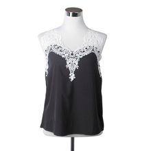 2016 New Hollow Out Solid Color Sexy Retro Women Chiffon Tank Tops Summer Lace Collar Sleeveless White Gift Free Shipping