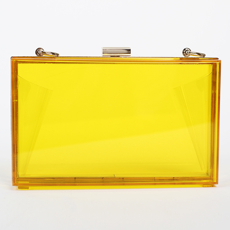 Recommend! Acrylic Perspex Transparent Women Clutch Chain Box Clear Evening Bags Lady Woman Messenger Shoulder Bag Free Shipping(China (Mainland))
