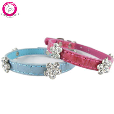 1.0cm Width Puppy Dog Collar Bling Flower Diamante Chihuahua Pet Strap Collar Lead For Small Dog Cats(China (Mainland))