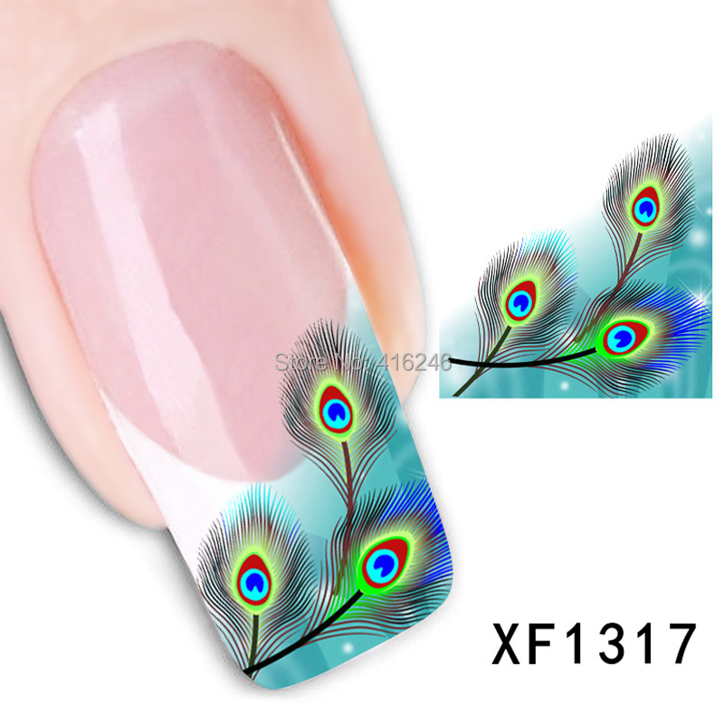 1pcs watermark 3D Design cute green fearhers Tip Nail Art nail sticker nails Decal nail tools Free shipping<br><br>Aliexpress
