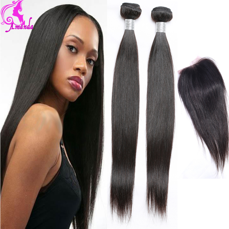 VIP Malaysian Virgin Hair With Closure Malaysian Straight Hair 4 Bundles With Closure Human Hair Bundles With Lace Closures 1B