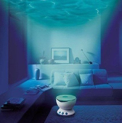 free shipping Led Night Light Projector Ocean Daren Waves Projector Projection Lamp With Speaker Novelty Gift(China (Mainland))