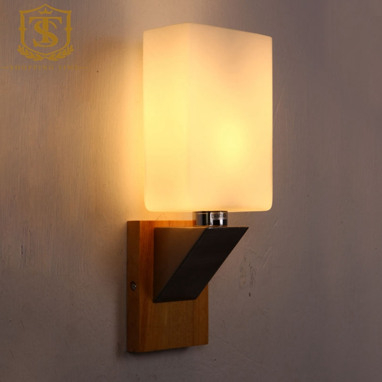 Led Indoor Wall Lamps : modern decorative led wall lamp wooden and glass PW004-in LED Indoor Wall Lamps from Lights ...