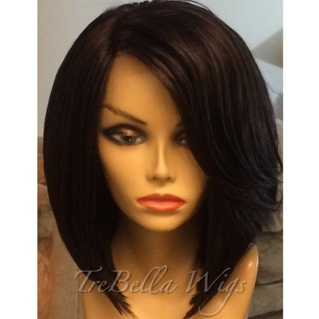 virgin hair full lace wigs graded straight with baby hair bangs