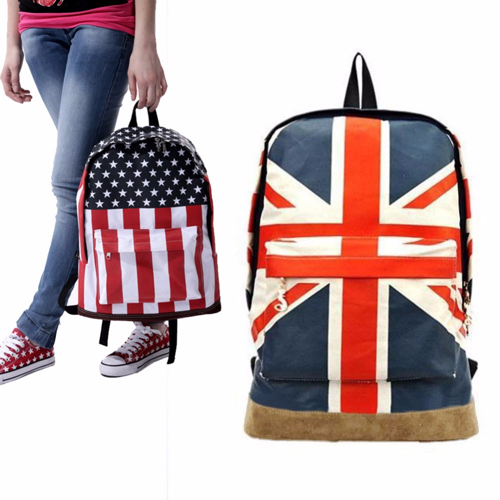 Flag Pattern Unisex Canvas Teenager School Bag Book Campus Backpack For Girl Boy 2 Style High Quality(China (Mainland))