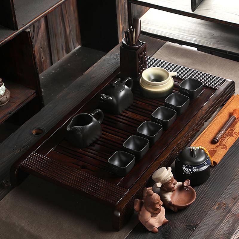Bone China Tea Set Ebony Wood Tea Tray Piece Of Wood Tea Ceremony Tray Yixing Zisha
