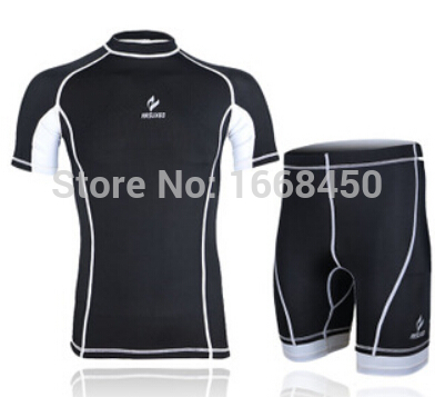 ARSUXEO Running Fitness Bike Cycling Compression Tights Base Layer Men's Outdoor Sports Short Sleeves Jersey with Shorts Suit