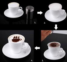 Hot Sale16Pcs set Cappuccino Coffee nespresso Stencils Template Strew Pad Spray Coffee Tea Kitchen cooking tools
