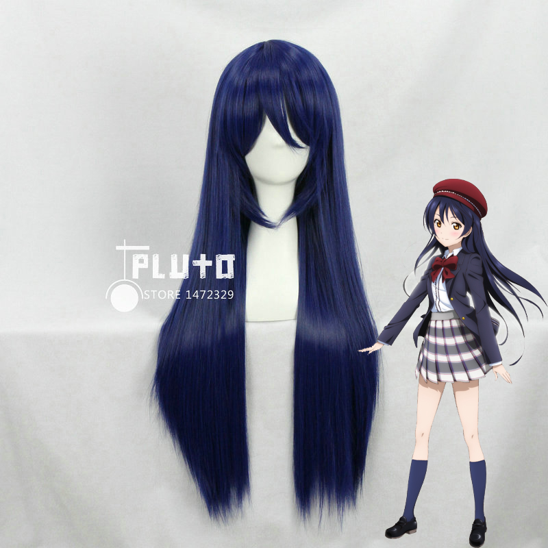 Гаджет  Love Live Sonoda Umi Cosplay Wigs Mixed Blue Hair Straight Long 80cm Anime Cos Wig Pluto  P003E None Волосы и аксессуары
