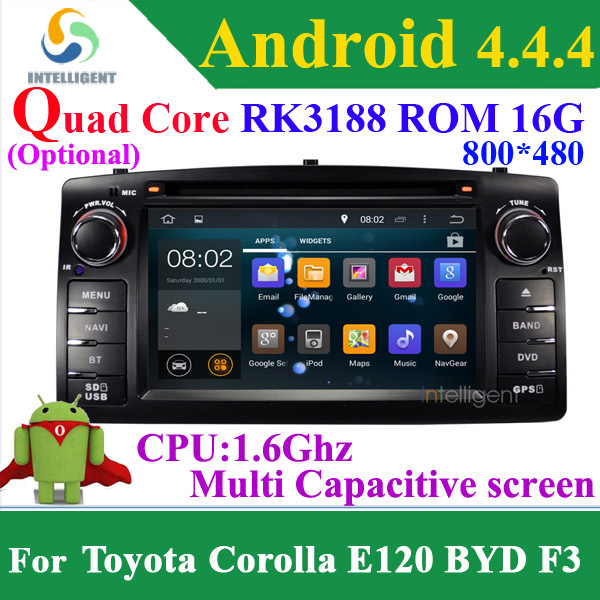 For Toyota Corolla E120 BYD F3 Android 4.4 Quad core RK3188 2 Din Car DVD player with Capacitive screen WIFI 3G GPS Car radio(China (Mainland))
