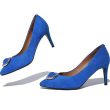 Blue Black Suede Sexy Pointy Toe Shallow Mouth Thin High Heels Women's Pumps With Rhinestone 2017 New Fashion Beautiful Shoes(China (Mainland))