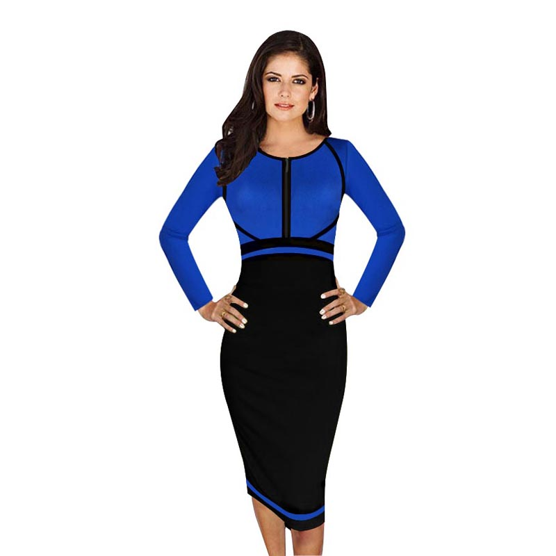 Womens Elegant Colorblock Front Zipper Wear to Work Business Casual Office Party Sheath Pencil Bodycon Dress plus size vestidos(China (Mainland))