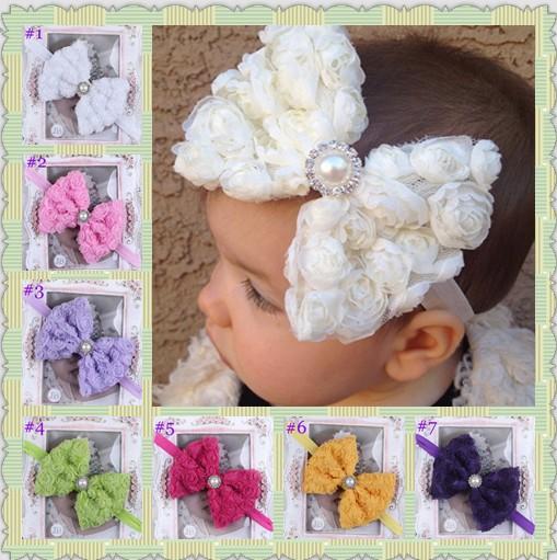 Baby girl headband with big bow Todler girls hair bows White Rose Bow Headbands on Skinny Elastic 10pcs HB187(China (Mainland))