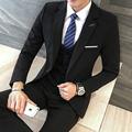 3 Pieces Black Suit Latest Coat Pant Designs Suit Men New Arrival Slim Fit Wedding Dress