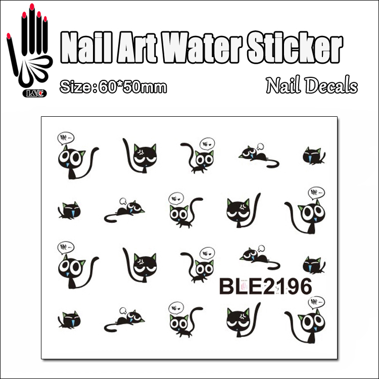 1 Sheet Stickers For Nail BLE2196 Cartoon Idea Black Cat Nail Art Water Transfer Sticker Decal Sticker For Nail Wraps(China (Mainland))