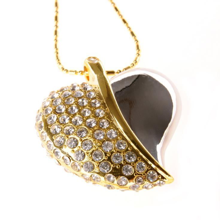 Crystal Heart 64GB 32GB 16GB Jewelry Usb 512GB Flash Drive Jewelry Memory Stick Pen Drive 1TB Gadget Pendrive 2TB Necklace Gift(China (Mainland))