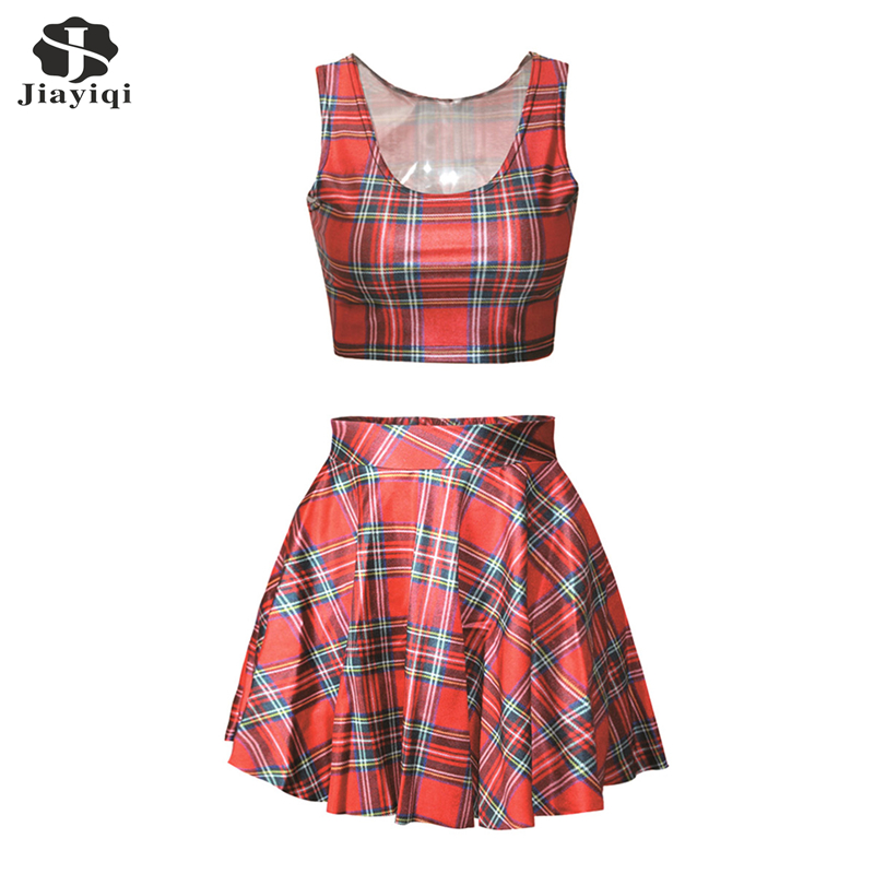 Fashion font b Tartan b font Design Red Womens Skirt And Top 2 Piece Sets Casual