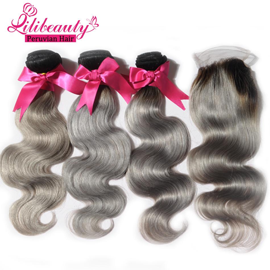 New Fashion 7a 1b Grey Silver Ombre Peruvian Virgin Hair