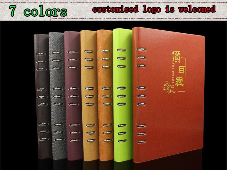 no logo A4 presentation folder leather rings binder small MOQ customised logo A4 leather menu holder green grey chocolate(China (Mainland))